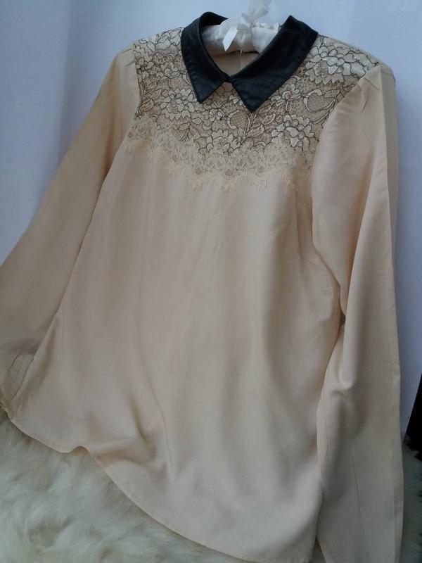 Трендовая стильная блуза рубашка с воротничком, вискоза кружево - Фото 3