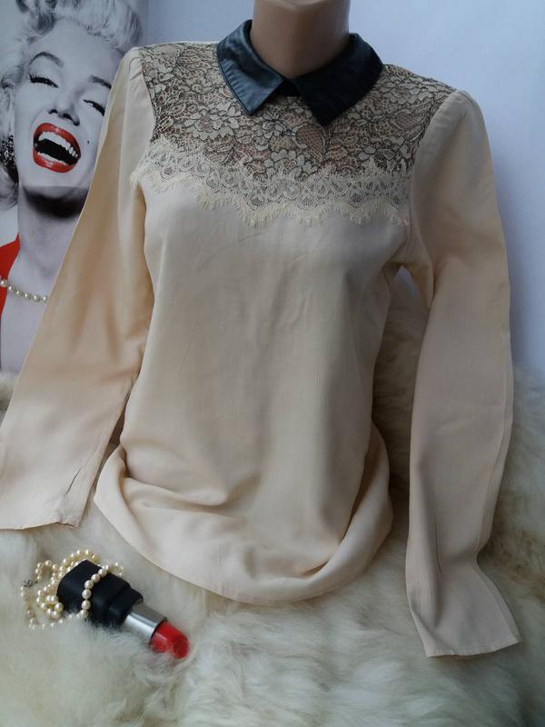 Трендовая стильная блуза рубашка с воротничком, вискоза кружево - Фото 4