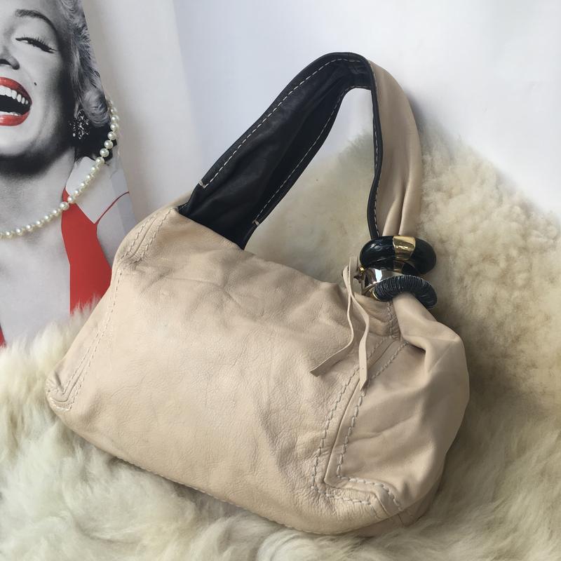 Роскошная брендовая кожаная сумка, натуральная кожа, бежевая, ... - Фото 2