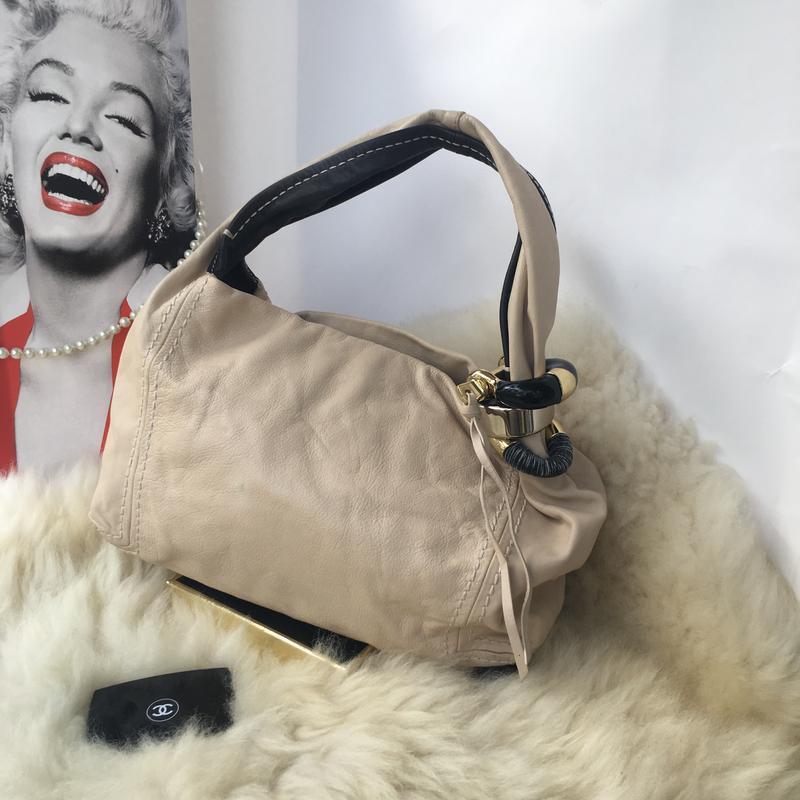 Роскошная брендовая кожаная сумка, натуральная кожа, бежевая, ... - Фото 4