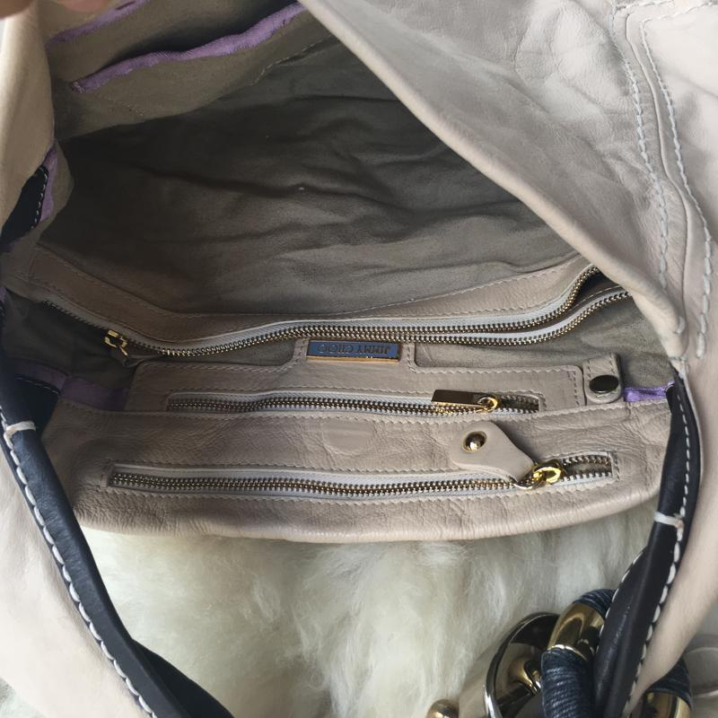 Роскошная брендовая кожаная сумка, натуральная кожа, бежевая, ... - Фото 5