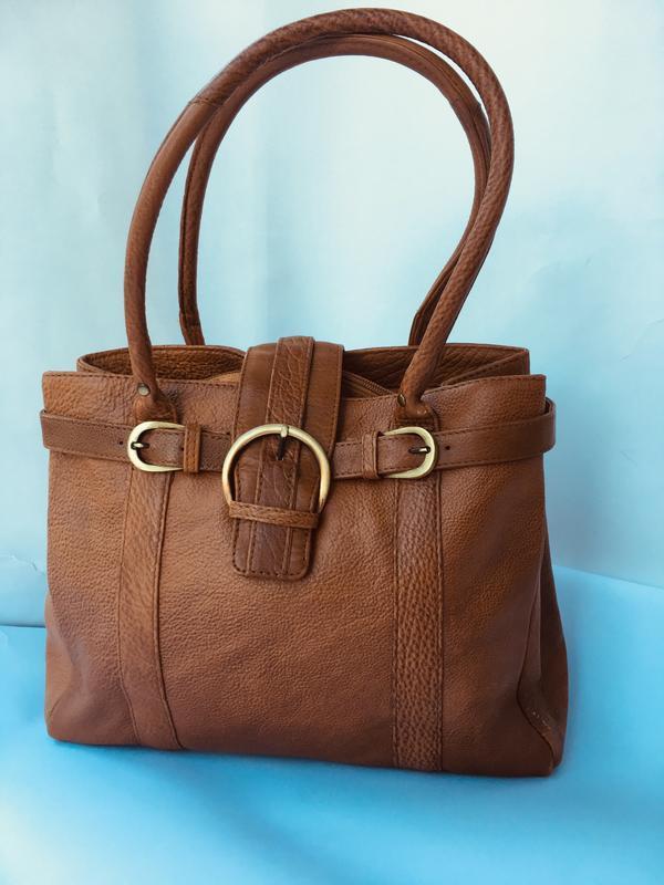 Практичная эффектная кожаная сумка, натуральная кожа, рыжая ко...