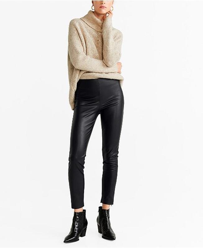 Кожаные штаны леггинсы h&m - Фото 3