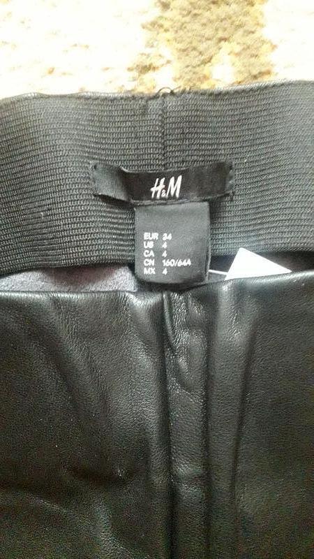 Кожаные штаны леггинсы h&m - Фото 6