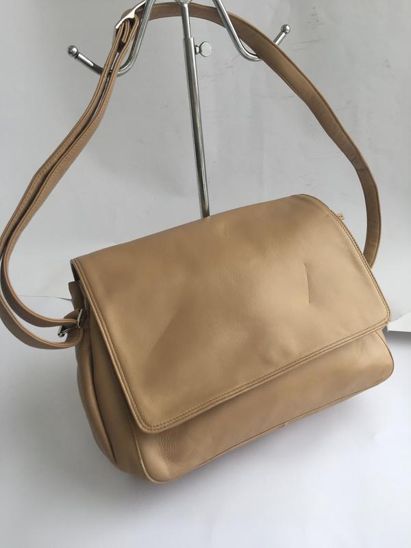 Объемная кожаная сумка кросс боди через плече, натуральная кож...