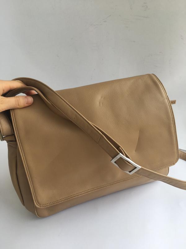 Объемная кожаная сумка кросс боди через плече, натуральная кож... - Фото 2