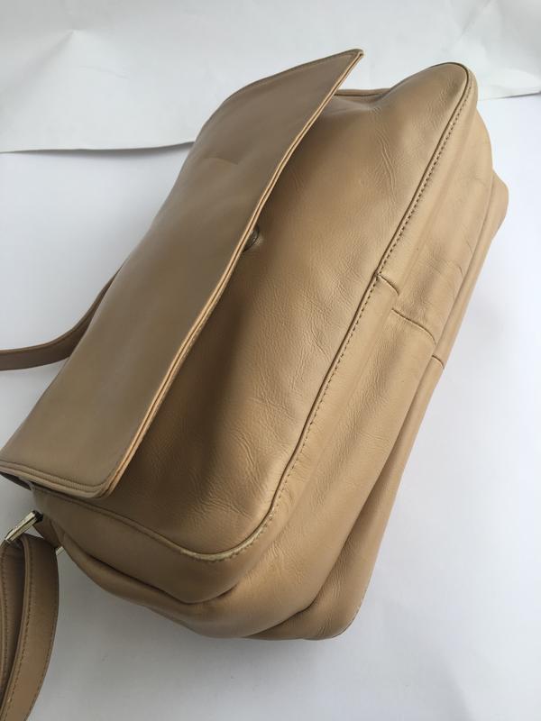 Объемная кожаная сумка кросс боди через плече, натуральная кож... - Фото 3