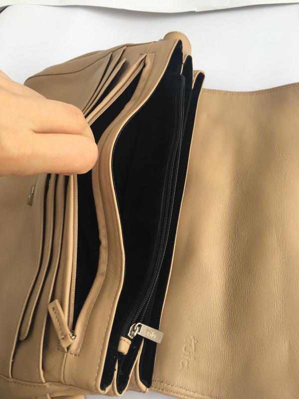 Объемная кожаная сумка кросс боди через плече, натуральная кож... - Фото 5