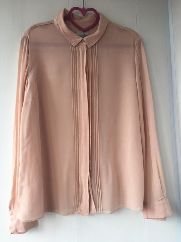 Благородная шелковая блузка блуза рубаха, натуральный шелк, цв... - Фото 4