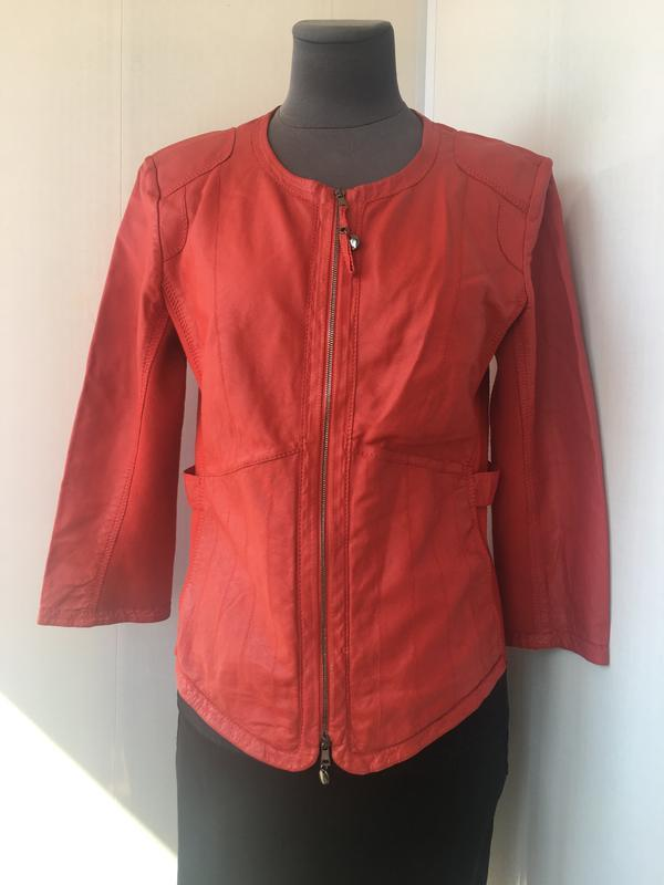 Красная кожаная курточка пиджак, натуральная кожа, приталенная... - Фото 2