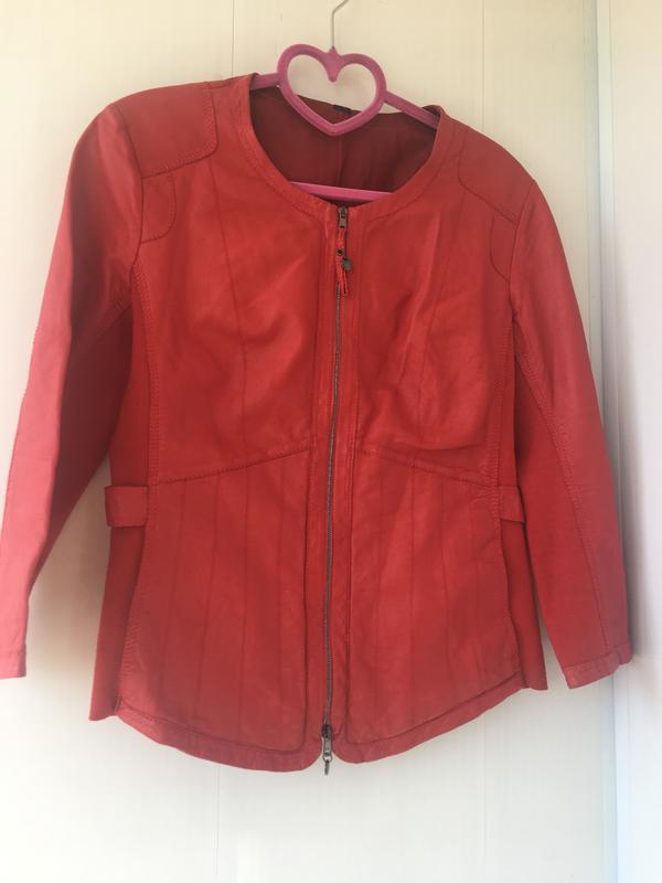 Красная кожаная курточка пиджак, натуральная кожа, приталенная... - Фото 3