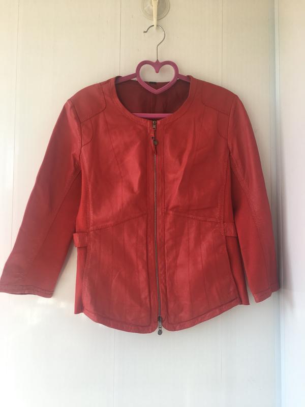 Красная кожаная курточка пиджак, натуральная кожа, приталенная... - Фото 4