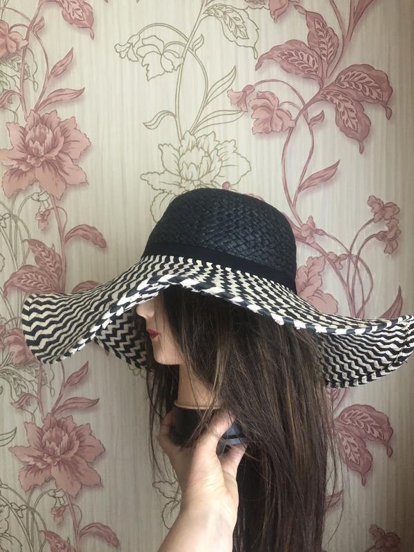 Натуральная шляпа с большими полями, пляжная шляпа - Фото 4