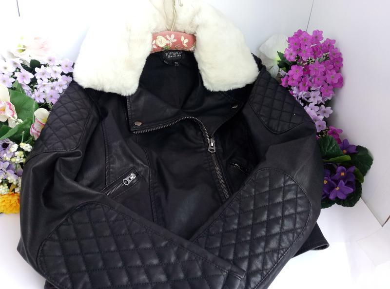 Эффектная модная курточка куртка косуха с мехом, плотная эко кожа - Фото 4