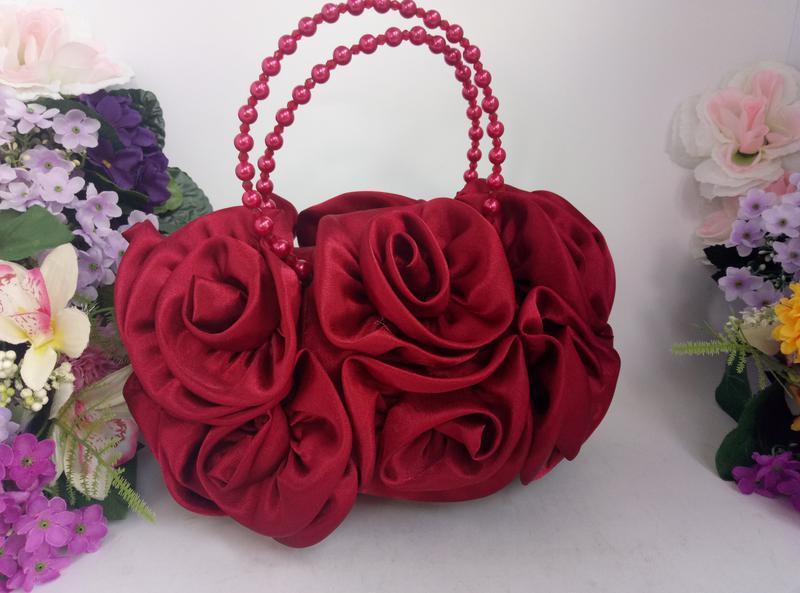 Эффектная эксклюзивная нарядная сумка розы и цветы вишнево кра... - Фото 3