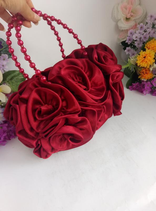 Эффектная эксклюзивная нарядная сумка розы и цветы вишнево кра... - Фото 4