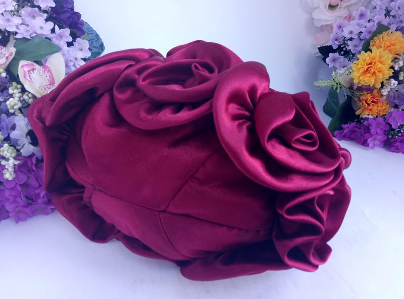 Эффектная эксклюзивная нарядная сумка розы и цветы вишнево кра... - Фото 5