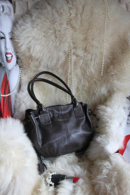 Интересная кожаная сумка кошелка - мешок с китицами, натуральн... - Фото 2
