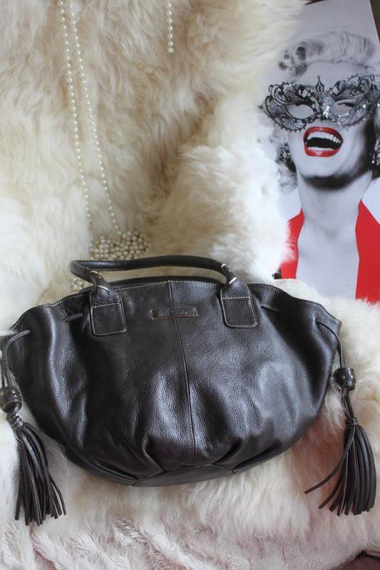 Интересная кожаная сумка кошелка - мешок с китицами, натуральн... - Фото 3