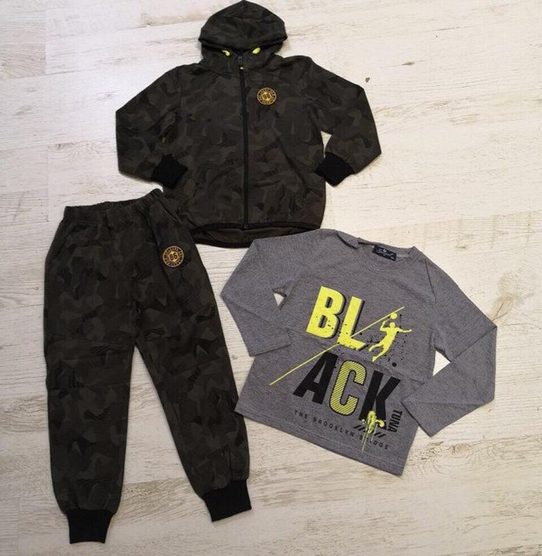 Спортивный костюм-тройка для мальчика камуфляж хаки10, 12 размер