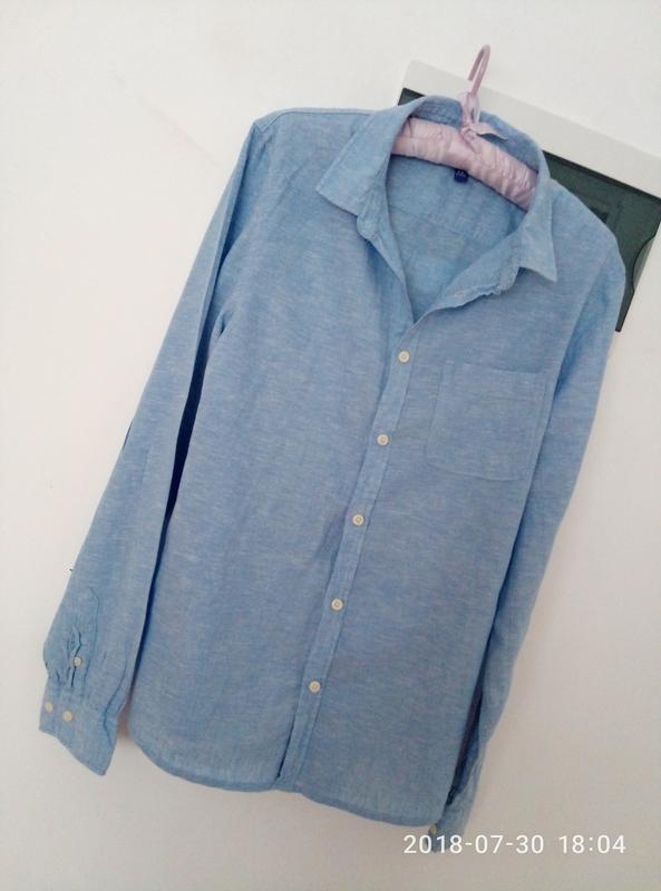 Рубашка оверсайз в нежно голубом цвете раз. s