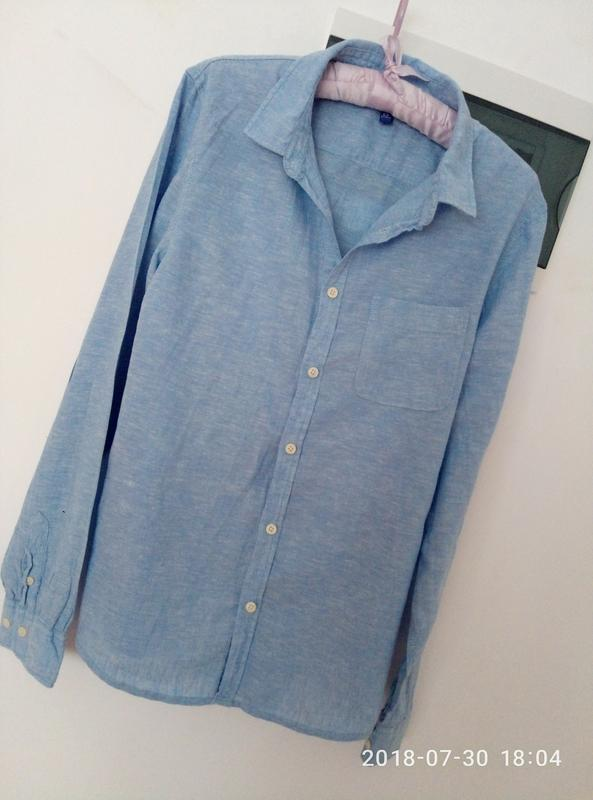 Рубашка оверсайз в нежно голубом цвете раз. s - Фото 2