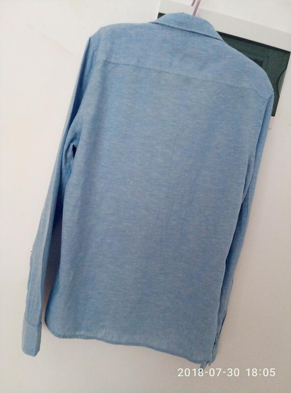 Рубашка оверсайз в нежно голубом цвете раз. s - Фото 3