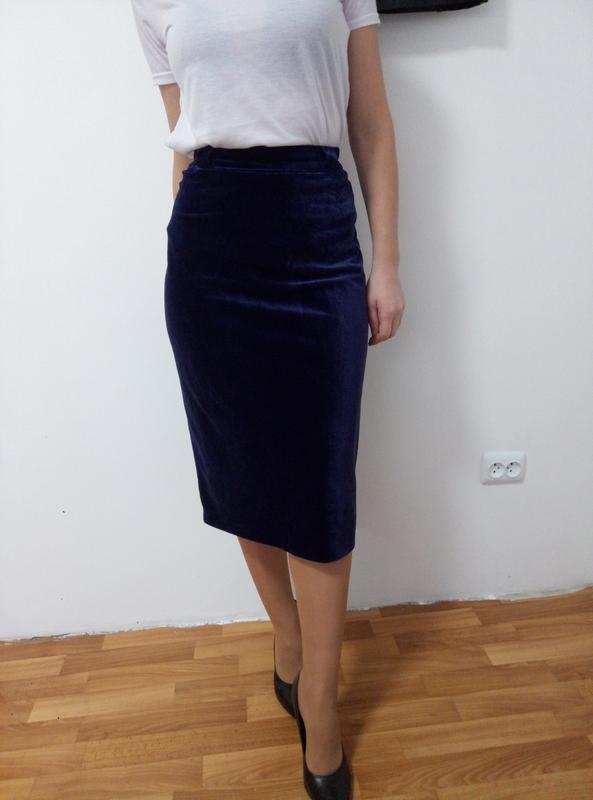 Шикарная велюровая  юбка миди раз. xl