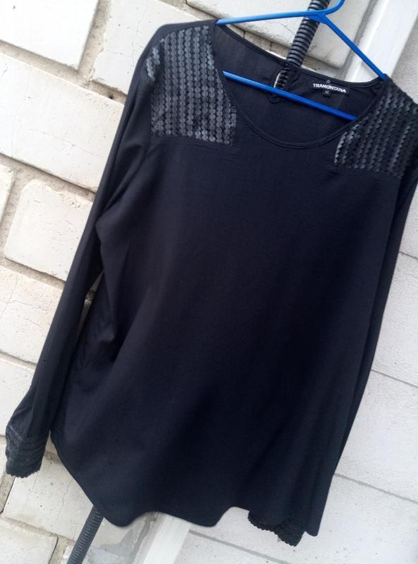 Вискозная блуза c кожаными вставками большого размера  раз.xl ...
