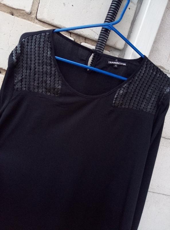 Вискозная блуза c кожаными вставками большого размера  раз.xl ... - Фото 2