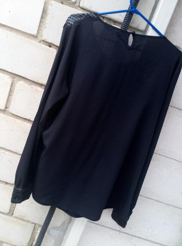 Вискозная блуза c кожаными вставками большого размера  раз.xl ... - Фото 4