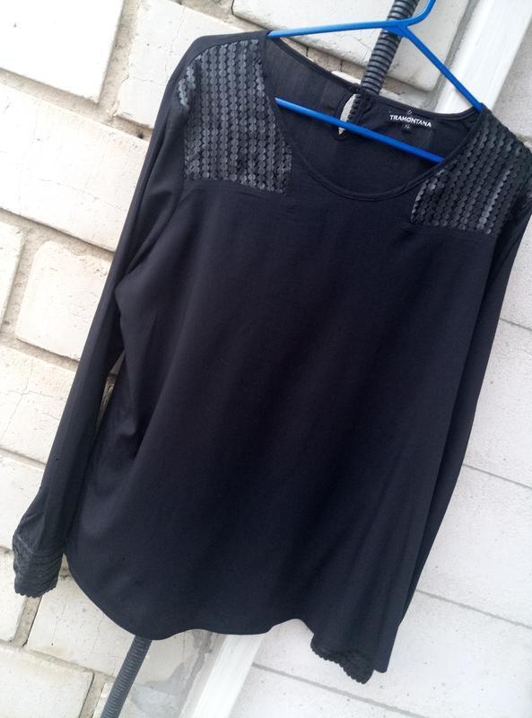 Вискозная блуза c кожаными вставками большого размера  раз.xl ... - Фото 5