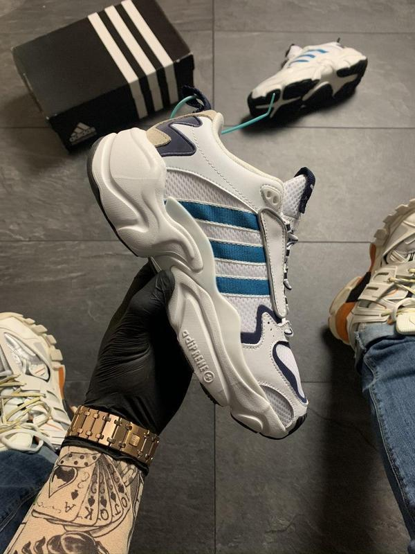 Adidas magmur runner white blue - Фото 9