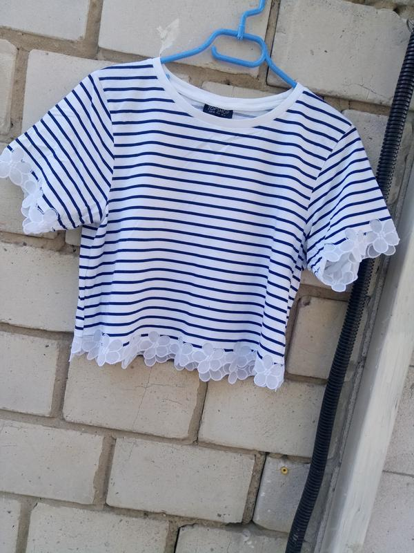 Стильная коттоновая блуза-топ в полоску раз. м - Фото 2