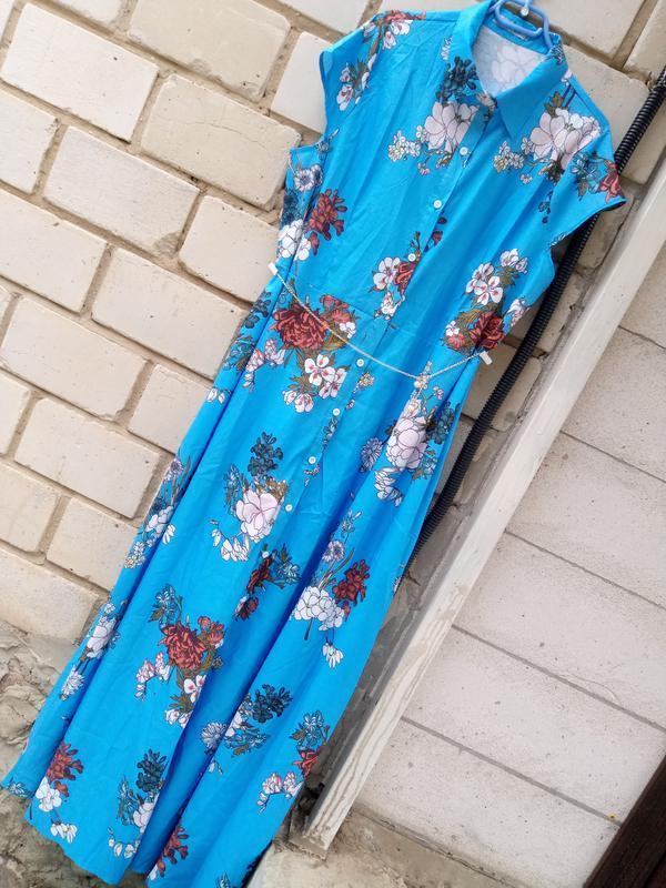 Длинное платье в пол в цветочный принт большого раз. 4xl