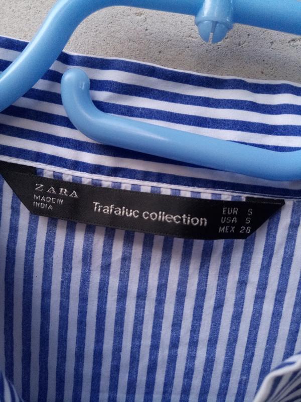 Крутая обемная блуза в полоску с вышевкой раз. s - Фото 5