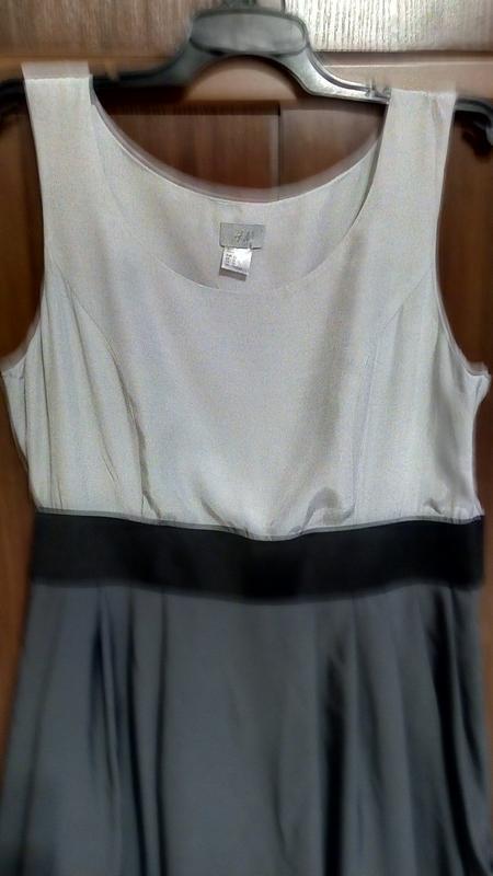 Трехцветное серое платье - Фото 2