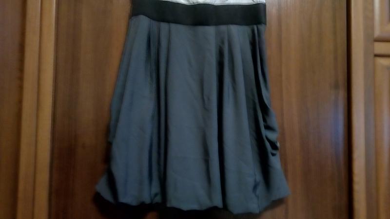 Трехцветное серое платье - Фото 4