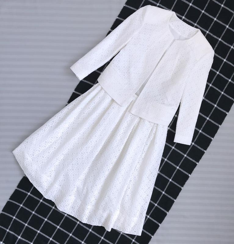 Костюм нарядный пиджак жакет юбка клеш кружево ажур