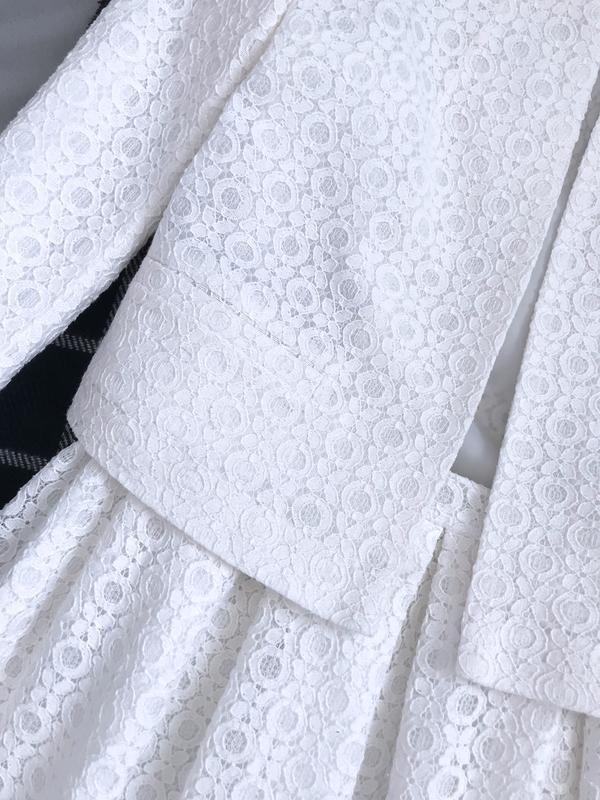 Костюм нарядный пиджак жакет юбка клеш кружево ажур - Фото 2