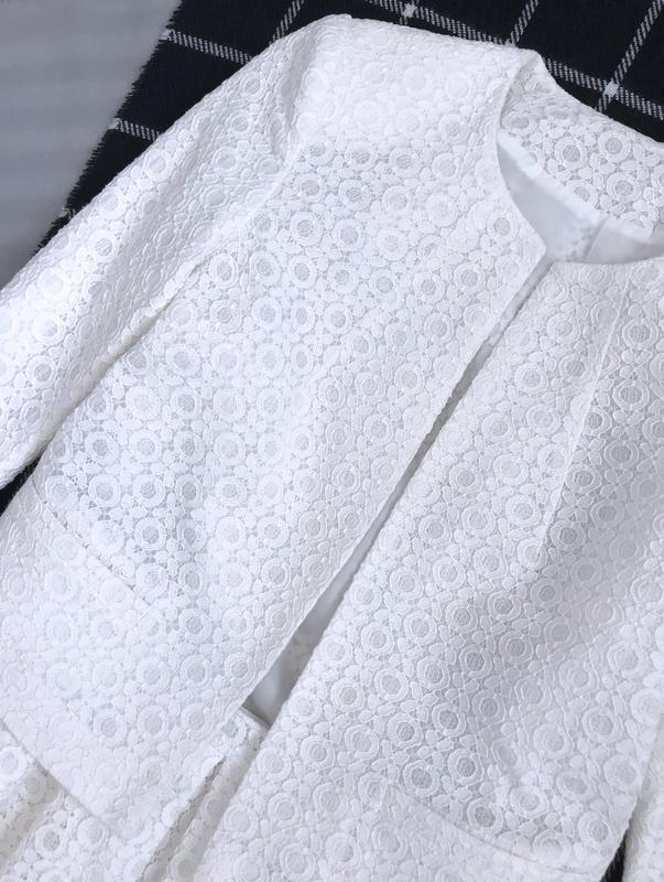 Костюм нарядный пиджак жакет юбка клеш кружево ажур - Фото 3