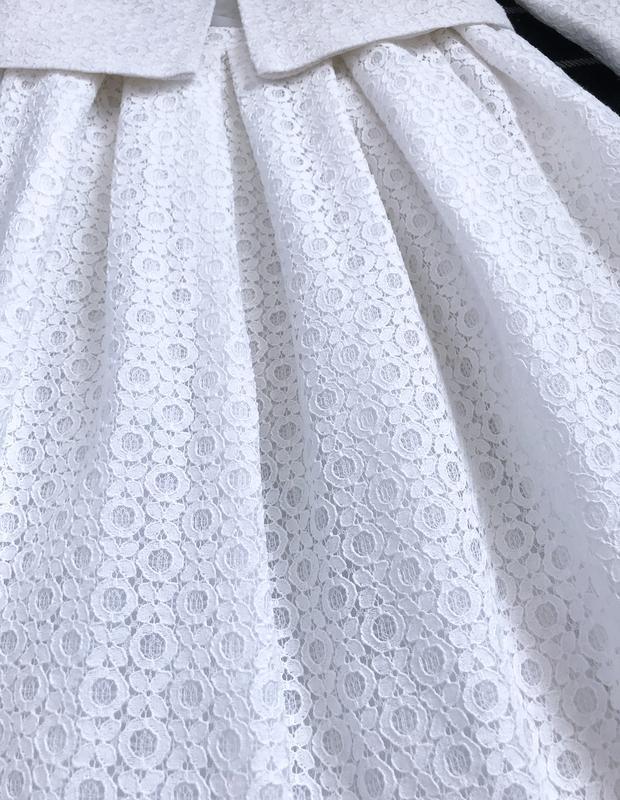 Костюм нарядный пиджак жакет юбка клеш кружево ажур - Фото 4