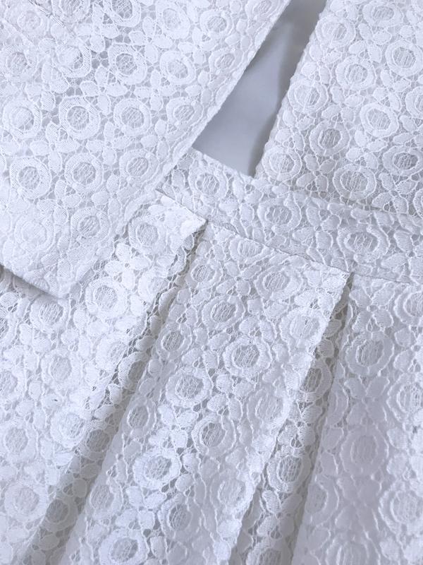 Костюм нарядный пиджак жакет юбка клеш кружево ажур - Фото 5