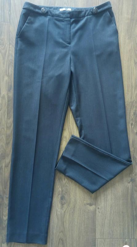 Темно-сині фірмові завужені класичні брюки косі кармани (tu) - Фото 2