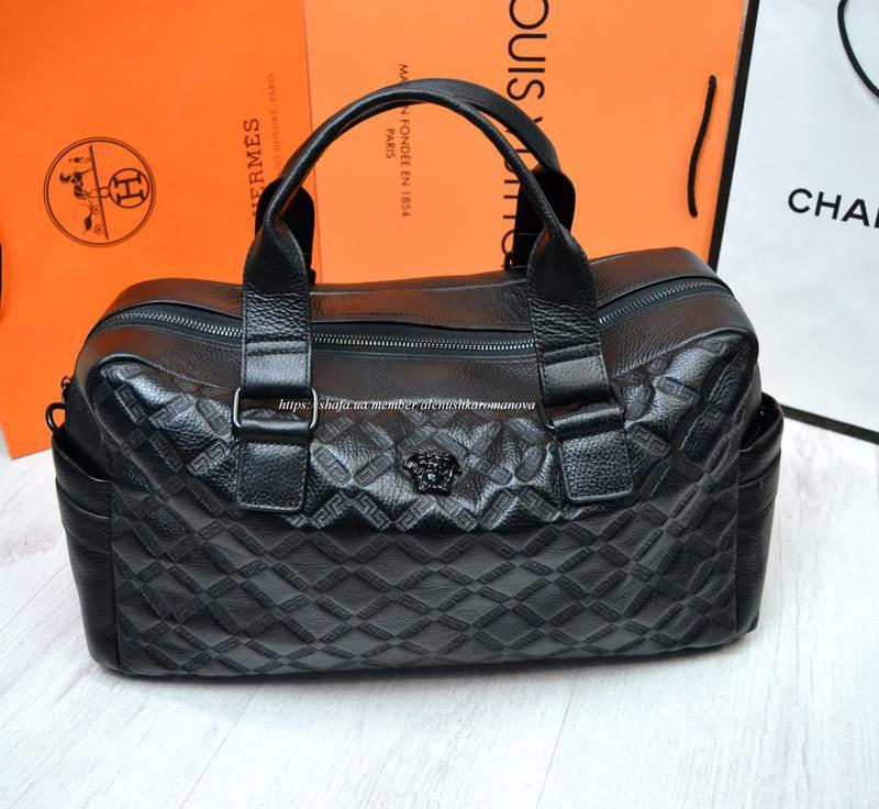 Брендовая дорожная сумка в ст версаче versache кожа - Фото 5