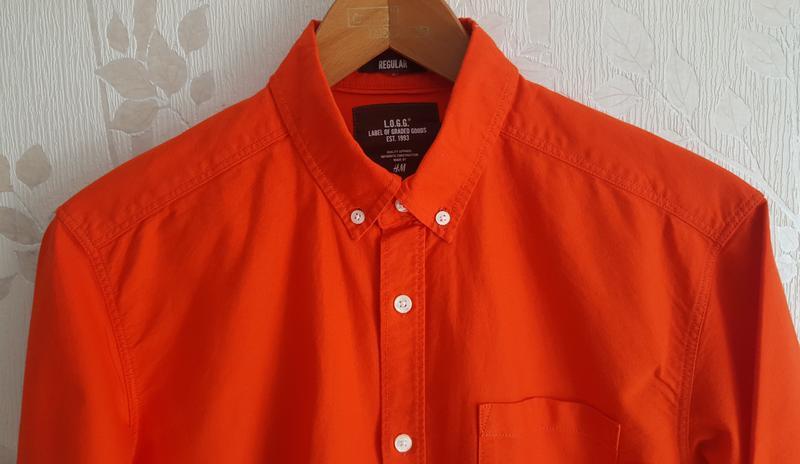 Коралловая рубашка h&m - Фото 2