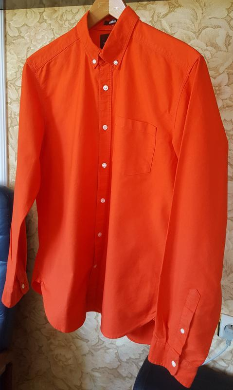 Коралловая рубашка h&m - Фото 3
