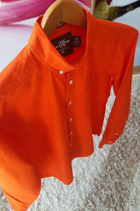 Коралловая рубашка h&m - Фото 4