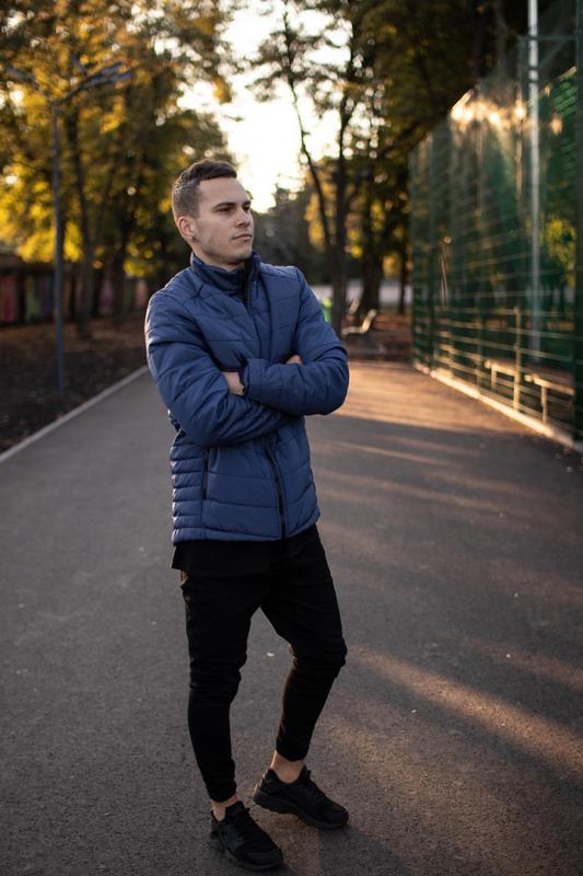 Мужская теплая синяя куртка (Весна - Осень)