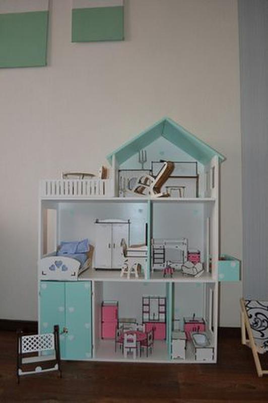 Детский развивающий кукольный домик Мебель в дом для кукол - Фото 6